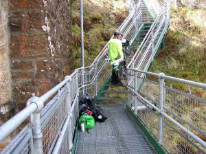 All luggage removed and carry bikes up steps - cycle routes are not all pedalling!
