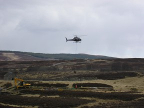 Helicopter work as we left Drumochter