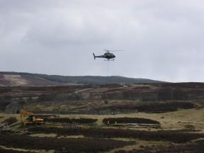 Helicopter work as we left Drumochter
